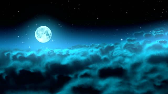 Moon over night clouds loop