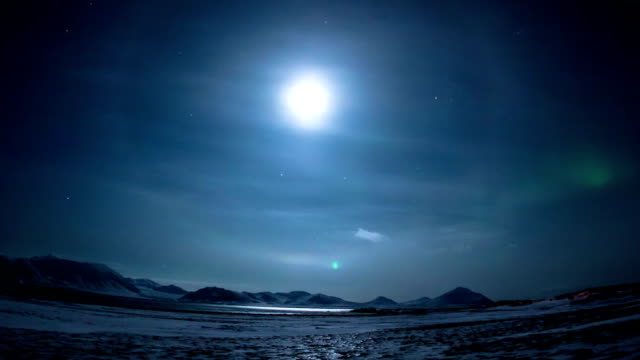 Moon over the arctic. video