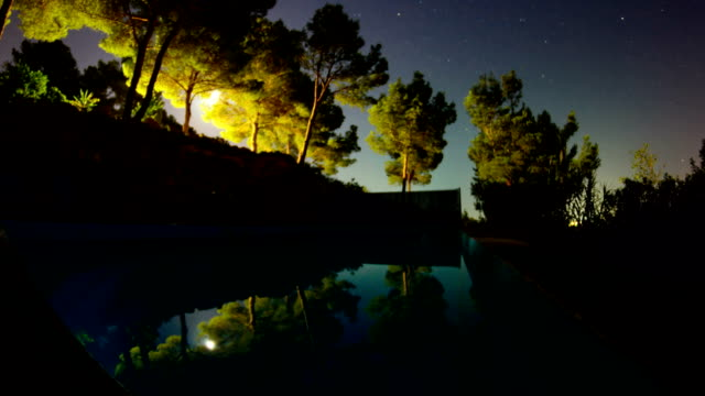 moon rise over swimming pool video