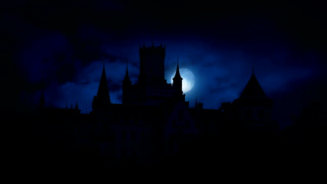 Moon Rises Behind Large Gothic Castle Full moon moves behind Gothic castle on stormy night count dracula stock videos & royalty-free footage