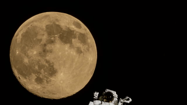 moon spacewalk astronaut video