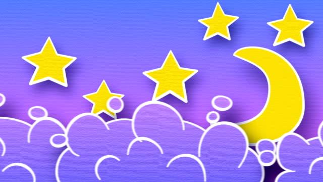 stockvideo's en b-roll-footage met moon stars and clouds in sky loop animation luma matte - sleeping illustration