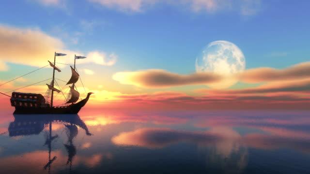 moon sunset ship video