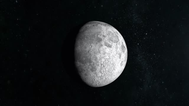 moon. the most part is illuminated by the sun. the moon is motionless and slowly approaching. view from space. stars twinkle. 4k. - veicolo a due ruote video stock e b–roll