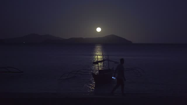 Moonlight at the beach Moonlight at the beach recreational boat stock videos & royalty-free footage