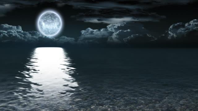 moonlit night on the ocean video