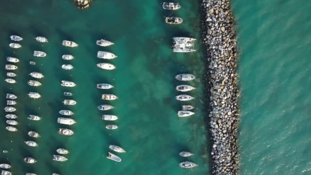 moored boats from drone point of view - vertical format video stock videos and b-roll footage