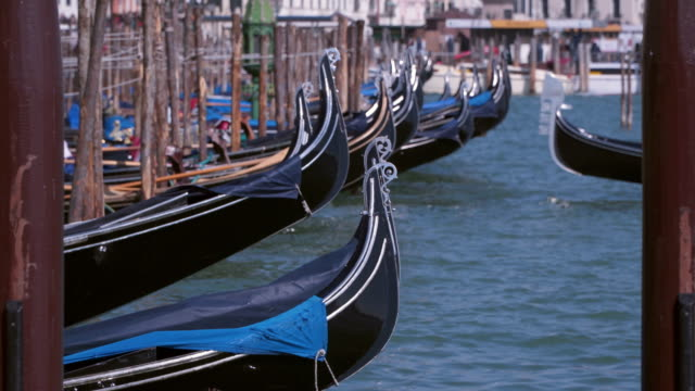 Mooring for gondolas in Venice, Italy video