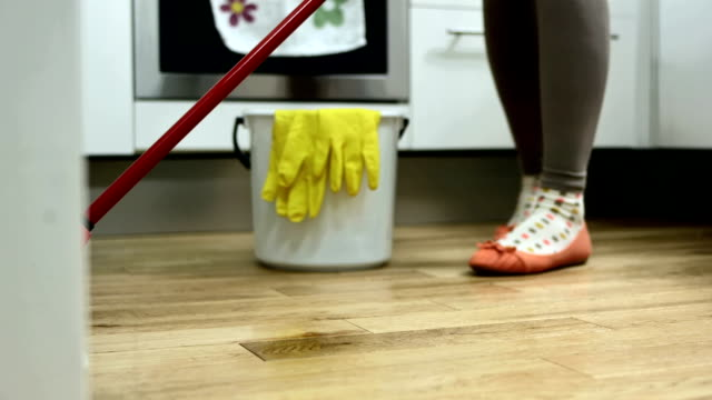 HD: Mopping A Floor In The Kitchen video