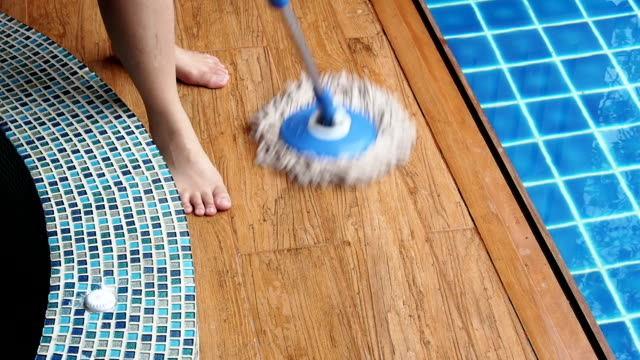 Mopping Laminate Flooring and Pool video