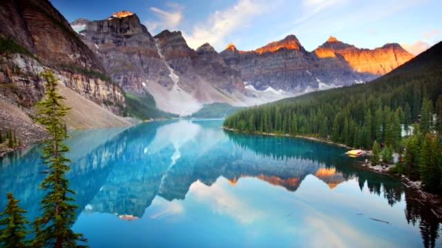 Moraine Lake at sunrise, Banff National Park, Canada video