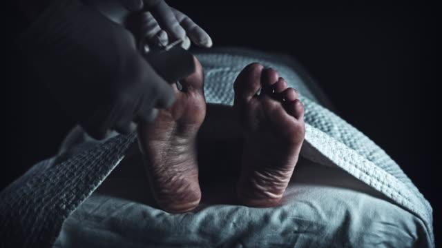 vídeos y material grabado en eventos de stock de 4k cuerpo muerto de la morgue, mortician lugar no identificado de la etiqueta a pie - autopsia
