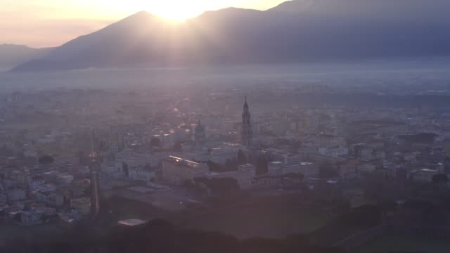 morning aerial scenes of Pompei city center