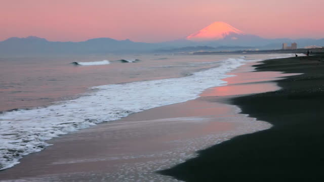 Morning beach and Mt fuji video