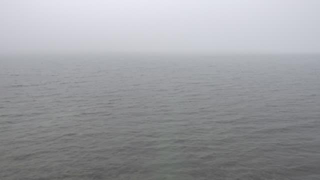 superficie dell'acqua calma mattutina con nebbia densa, video full hd ad anello. - ambientazione tranquilla video stock e b–roll