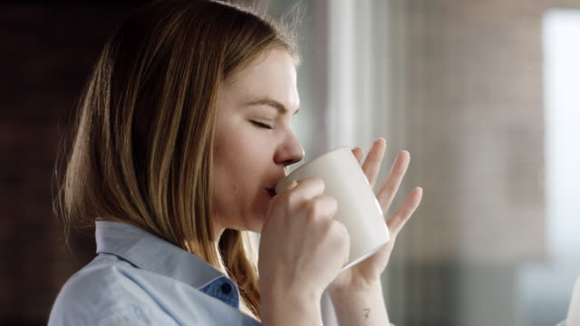 morning coffee is my daily routine - gente serena video stock e b–roll