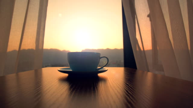 stockvideo's en b-roll-footage met ochtend koffie tijd - restaurant table