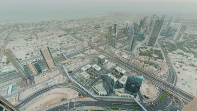 morning dubai city downtown roof top traffic street panorama 4k time lapse united arab emirates video