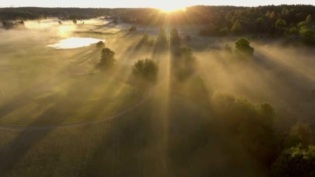vídeos de stock e filmes b-roll de morning fog aerial - escandinávia