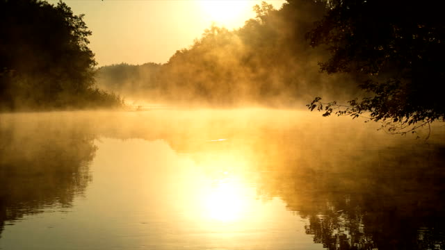 morning fog on a calm river, sepia toned - nebbia video stock e b–roll