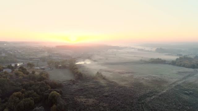 morning horizon rural nature flyover sunrise