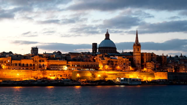 Morning hyper lapse of Valletta old town, Malta Night hyperlapse of Valletta, Malta malta stock videos & royalty-free footage