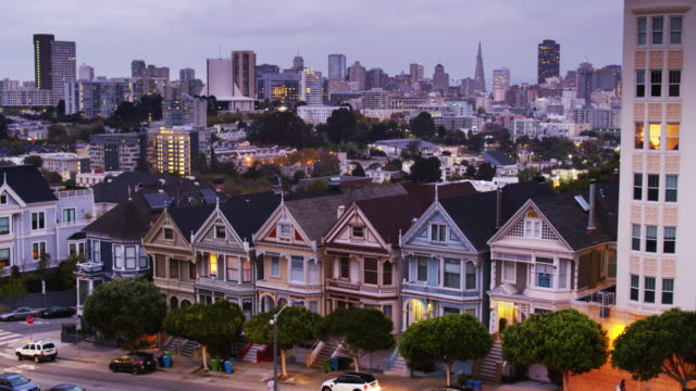Morning in San Francisco - Drone Shot Aerial shot of Alamo Square, San Francisco, and the famous row of painted ladies houses. 19th century style stock videos & royalty-free footage