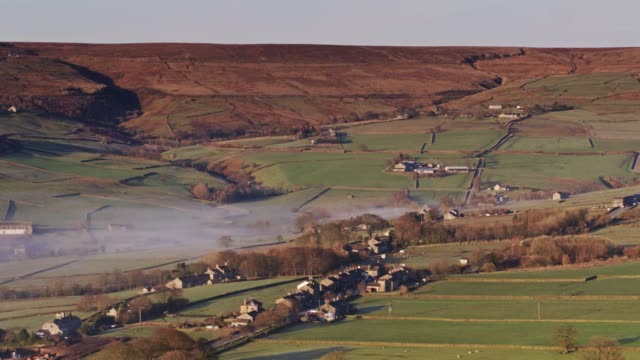 Morning Mist in Oxenhope, West Yorkshire - Drone Shot video