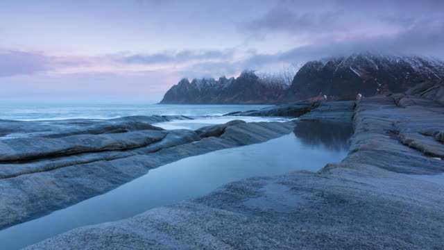 Morning on the Stony Beach of Norway. Time Lapse video