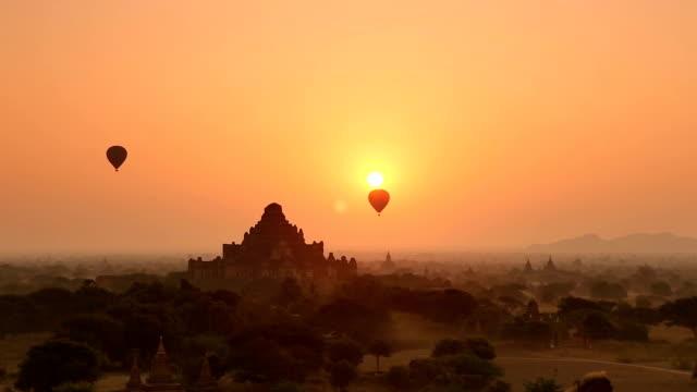 Morning Panorama of Hot Air Balloons in Bagan Myanmar video