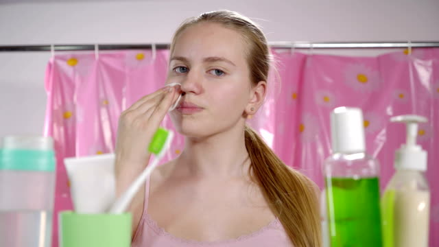 Morning skincare routine in bathroom for teens video