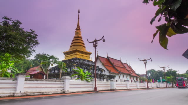 Morning time at Wat Phra That Chang Kham, Northern Temple in Nan Province, Thailand video