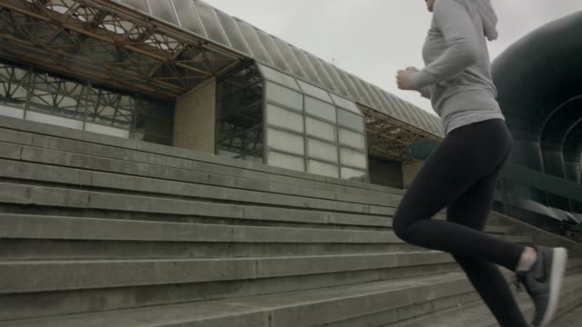 morning training - staircases stock videos & royalty-free footage