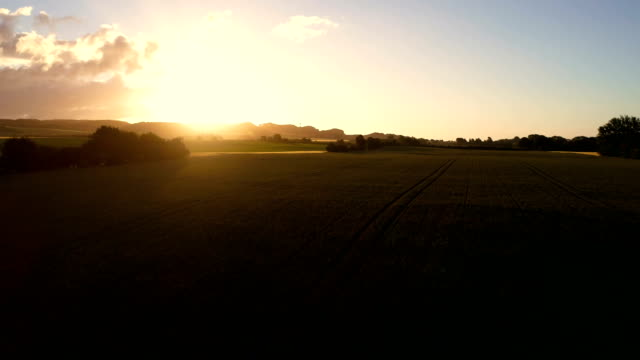 Morning Sunrise filmed from a drone - Summer morning and landscape denmark stock videos & royalty-free footage