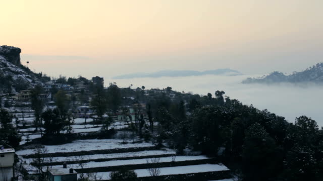 Morning view after snow fall in city Solan, Himachal Pradesh. video