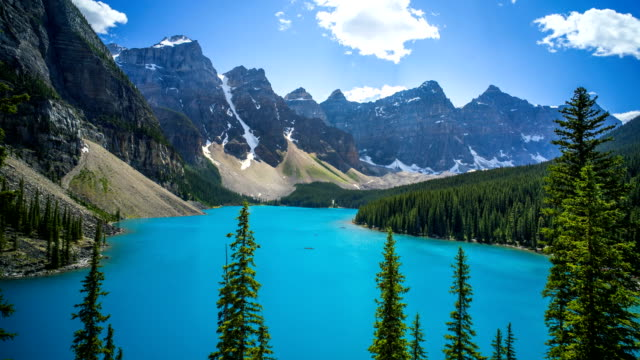 Morraine Lake Time Lapse of Clouds 4K 1080p video