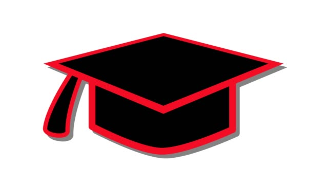 mortarboard hat education icon symbol in and out animation red - tocco accademico video stock e b–roll