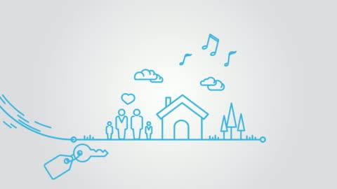 stockvideo's en b-roll-footage met hypotheek lijn kunst animatie - illustratie