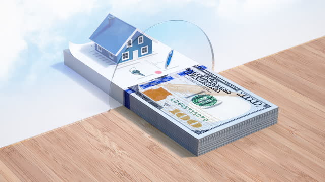 Mortgage Loan - Dollar Credit - 4K Resolution Home Improvement, Home Ownership, House, Banking, Loan mortgages and loans stock videos & royalty-free footage