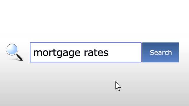 Mortgage tarifas de gráficos-consulta de búsqueda del navegador, página web, entrada de usuario para buscar los resultados relevantes, computer technology internet. Navegación Web escribiendo letras, llenado forma presionar botón buscar, navegación a la página de resultados de la búsqueda, trabajo en línea - vídeo