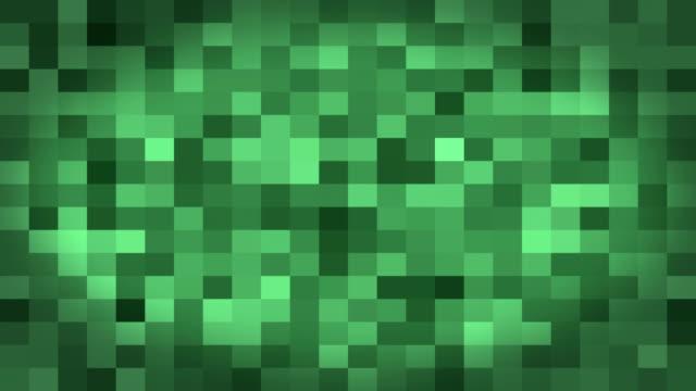 Mosaic green digital squares background. video