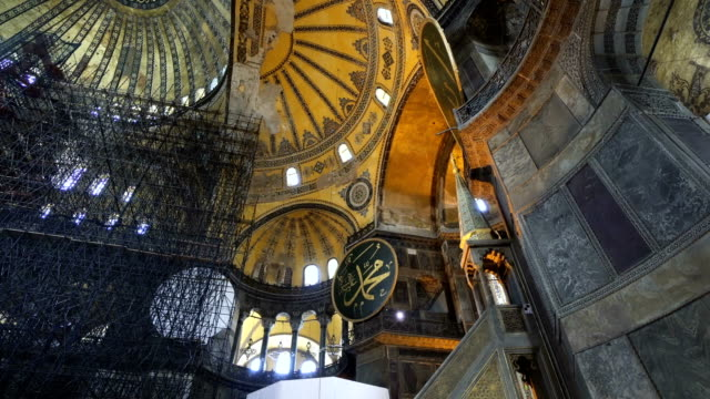 Mosaic interior in Hagia Sophia at Istanbul Turkey - architecture background