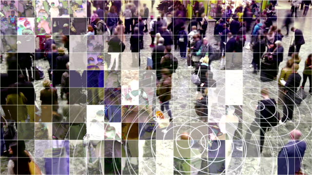 Mosaic pixelated waiting people with radio waves. Crowd of people with a mosaic digitized effect and radio waves from smart phones. mosaic stock videos & royalty-free footage