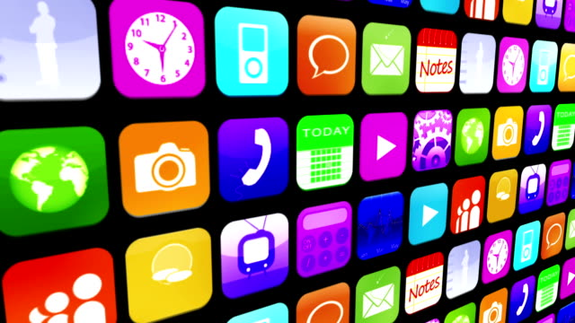 Mosaic wall of application icons Mosaic wall of colourful application icons on black background mosaic stock videos & royalty-free footage