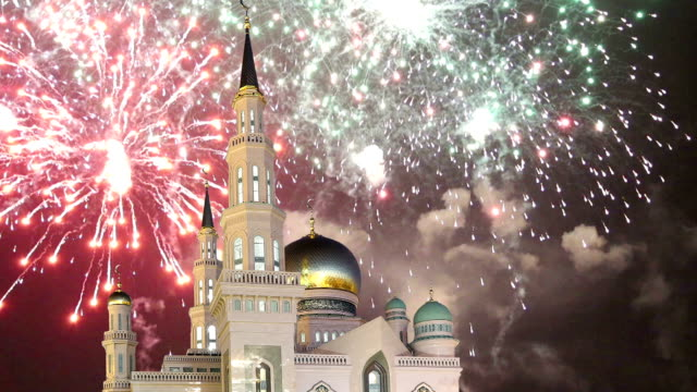 moscow cathedral mosque and fireworks, russia -- the main mosque in moscow, new landmark - ramadan stock videos and b-roll footage