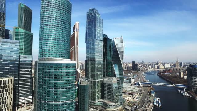 moscow city antenn skytte stadsbilder byggnader - moskva bildbanksvideor och videomaterial från bakom kulisserna