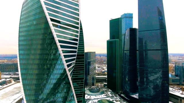 moskva city businesscenter i vinter. antenn 4k sköt. - moskva bildbanksvideor och videomaterial från bakom kulisserna