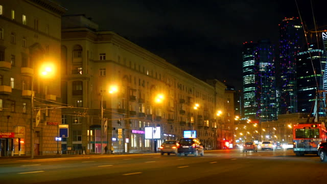 Moscow city center evening lights and road traffic, Russia video