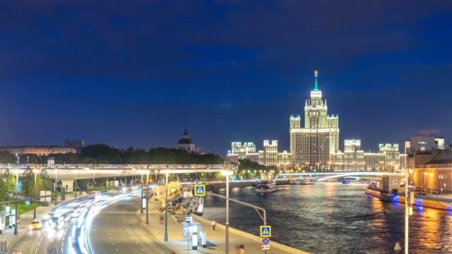 moscow city skyline day to night timelapse at moscow river and kotelnicheskaya embankment building, moscow russia 4k time lapse - rzeka moskwa filmów i materiałów b-roll