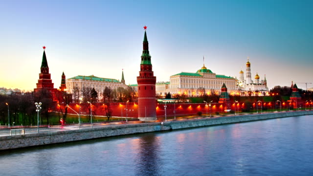 Moscow Kremlin evening Nightfall over Moscow Kremlin russian culture stock videos & royalty-free footage